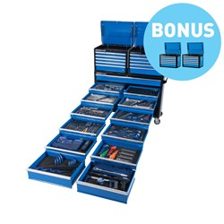 "Evolution Tool Trolley 557 Piece 13 Drawer Extra Wide 1/4, 3/8 & 1/2"" Drive"