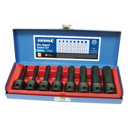 "Hex Impact Socket Set 8 Piece 1/2"" Square Drive"