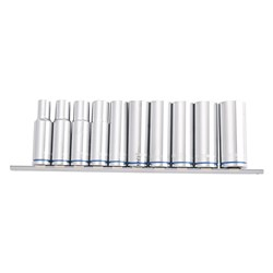 "Deep Socket Rail 10 Piece 1/2"" Square Drive Metric (Mirror Polish)"
