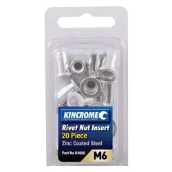 Rivet Nut Insert M6 (Zinc Coated Steel) - 20 Pack