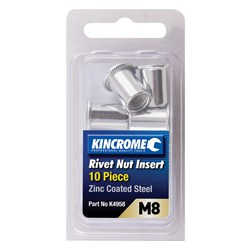 Rivet Nut Insert M8 (Zinc Coated Steel) - 10 Pack