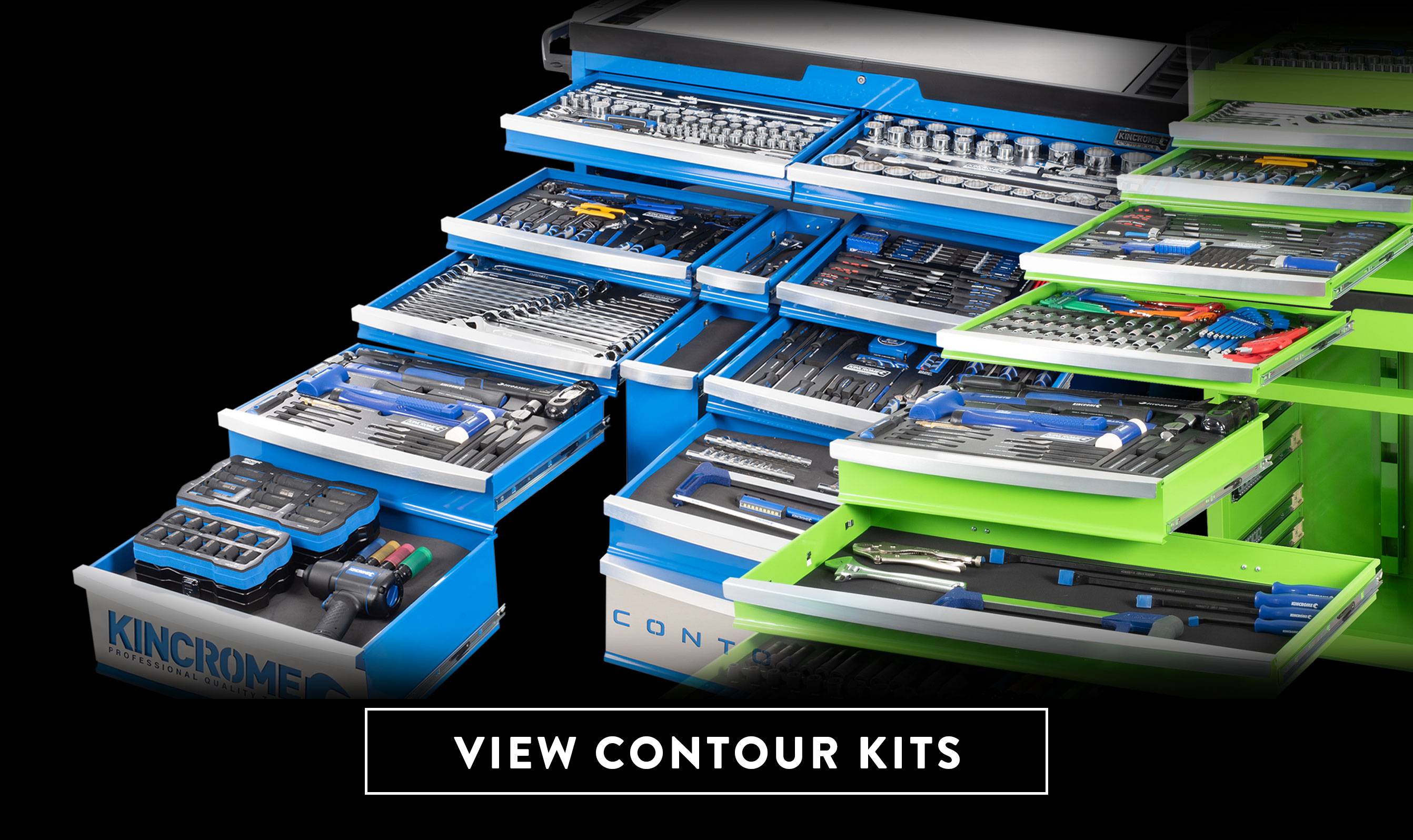 "Designed in Australia by Kincrome, the curved range of Contour® tool chests and trolleys have market leading features. Including multiple colours of blue, green, orange and yellow. Select from 10 different tool kit options to suit your needs, ranging in sizes from 29"" to 60""."