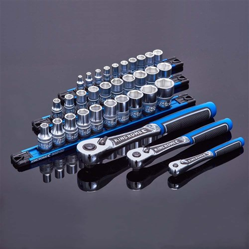 LOK-ON™ Socket Set Twist-Lock Rail 11 Piece 1/2 Drive - Metric