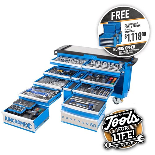 "CONTOUR® Tool Trolley 403 Piece 12 Drawer Extra-Wide 1/4, 3/8 & 1/2"" Drive"